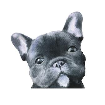 Ilustración de acuarela de perro bulldog francés negro