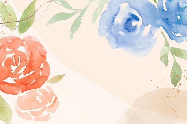 Ilustración de acuarela de primavera de fondo de marco rosa naranja