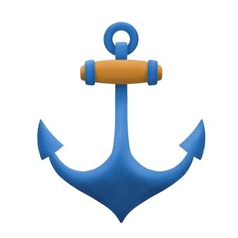 Ilustración de ancla náutica, símbolo marino. aislado sobre fondo blanco
