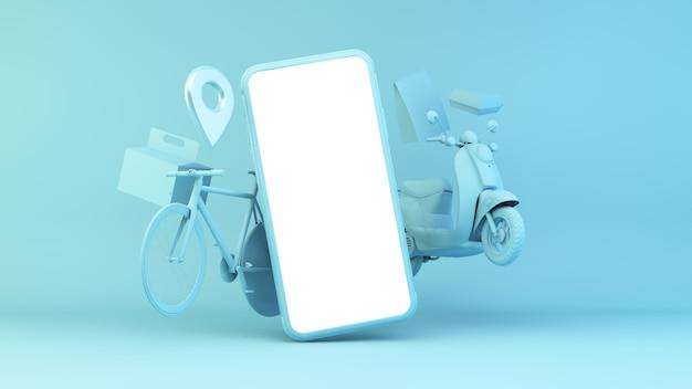 Ilustración de la aplicación de entrega con dispositivo y objetos de transporte