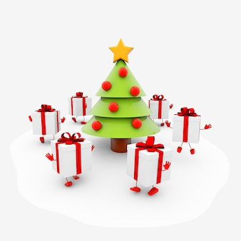 Ilustración de un árbol de navidad de dibujos animados, con regalos con brazos y piernas que lo rodean