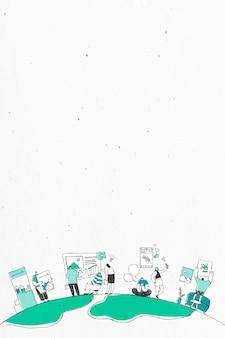 Ilustración de arte de doodle de equipo de lluvia de ideas blanco y verde
