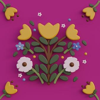 Ilustración de arte popular 3d dibujos animados flor composiciones de arte popular ilustración de renderizado colorido