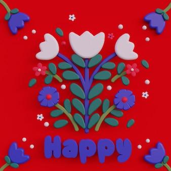 Ilustración de arte popular 3d con letras composiciones de arte popular de flores de dibujos animados ilustración de renderizado colorido