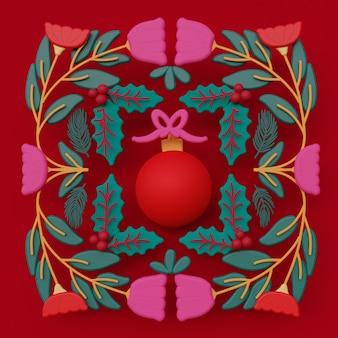 Ilustración de arte popular adorno de navidad