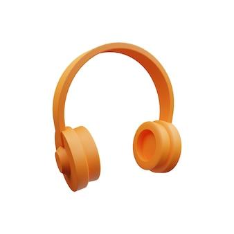 Ilustración de auriculares 3d aislado en blanco.