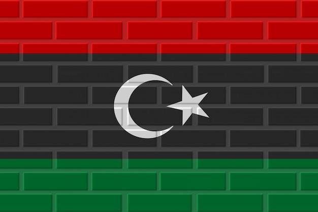 Ilustración de bandera de ladrillo de libia