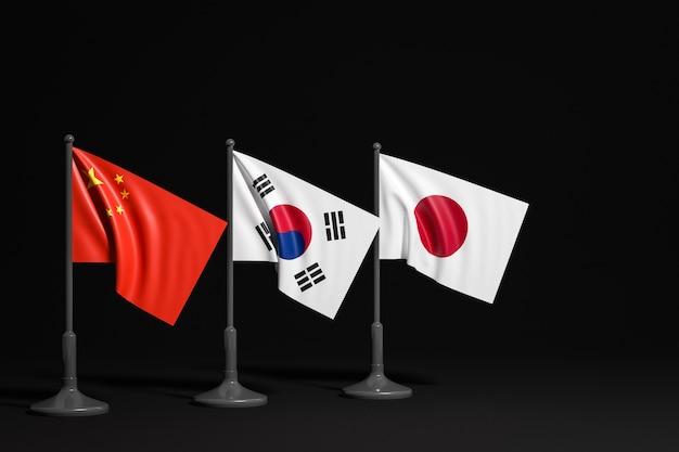 Ilustración de las banderas nacionales de china, corea del sur y japón en un mástil de metal