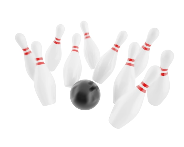 Ilustración de una bola que golpea los pernos aislados en blanco.
