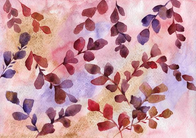 Ilustración botánica dibujada a mano acuarela. fondo de hojas rojas, moradas, vinosas y doradas.