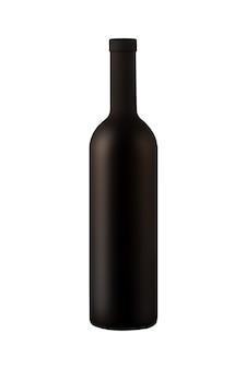 Ilustración de una botella de vino mate aislado sobre fondo blanco.