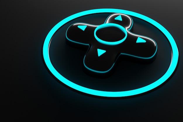 Ilustración botones del teclado teclas de control del joystick con luz azul neón