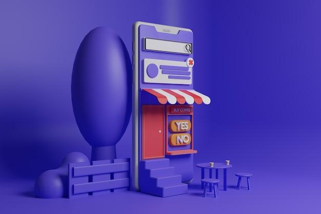 Ilustración de cafetería de smartphone 3d