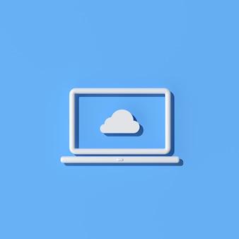 Ilustración de la computadora portátil con el icono de la computación en nube sobre fondo azul, estilo de esquema, representación 3d.