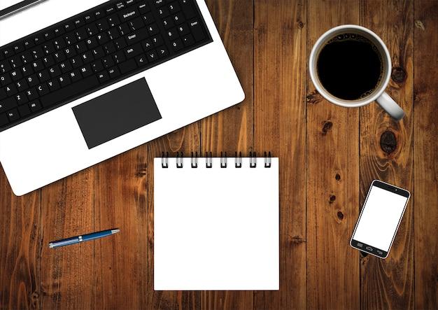 Ilustración de una computadora portátil en la mesa cerca de un cuaderno de café y un teléfono