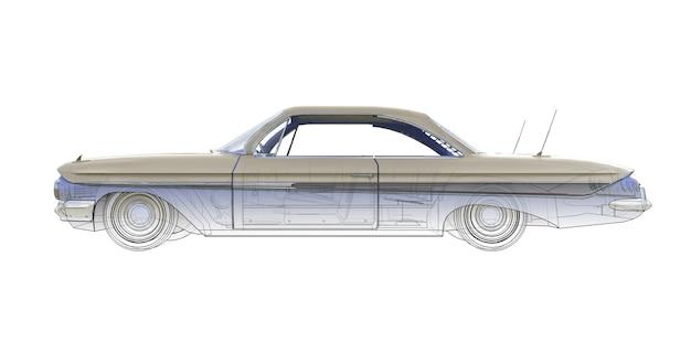 Ilustración de computadora tridimensional de coche americano antiguo, combinada con los contornos técnicos del modelo. representación 3d.