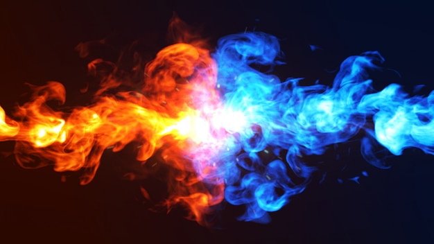 Ilustración del concepto 3d del fuego y del hielo.