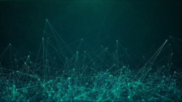 Ilustración del concepto de tecnología con conexiones a internet caóticas de puntos y líneas, estructura de representación 3d sobre fondo verde oscuro