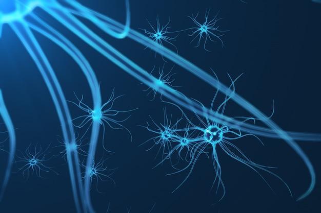 Ilustración conceptual de células neuronales con nudos de enlace brillante. las células synapse y neuron envían señales químicas eléctricas. neurona de neuronas interconectadas con pulsos eléctricos, representación 3d
