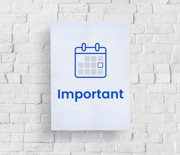 Ilustración del calendario organizador personal en la pared de ladrillo