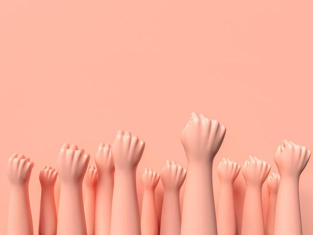 Ilustración del día de la mujer con muchas manos en alto. ilustración 3d