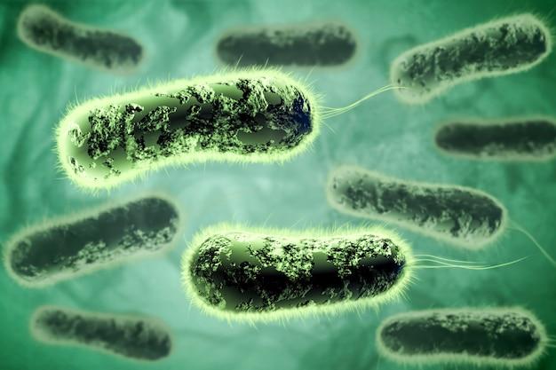 Ilustración digital 3d de bacterias