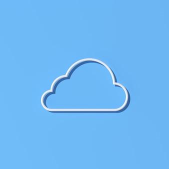 Ilustración del diseño de concepto de computación en la nube, estilo de esquema. representación 3d.