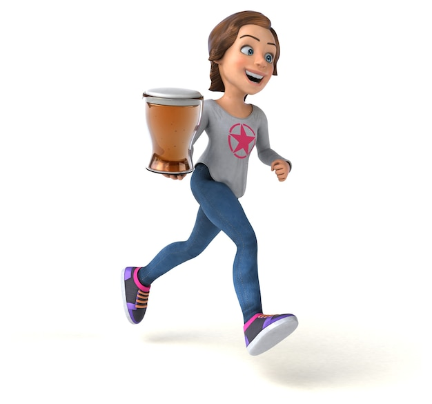 Ilustración divertida de una adolescente de dibujos animados