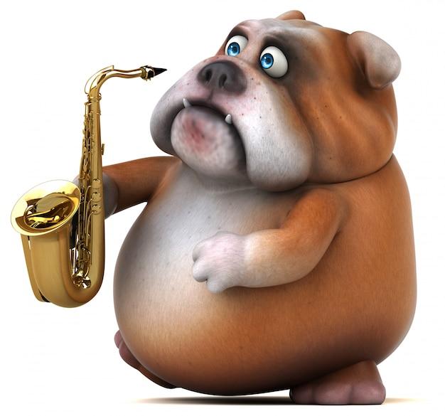 Ilustración divertida del bulldog 3d
