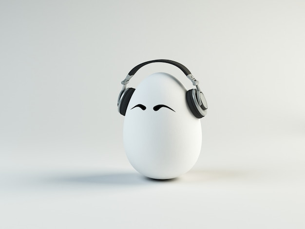 Ilustración divertida de huevo escuchando música en auriculares. concepto de pascua