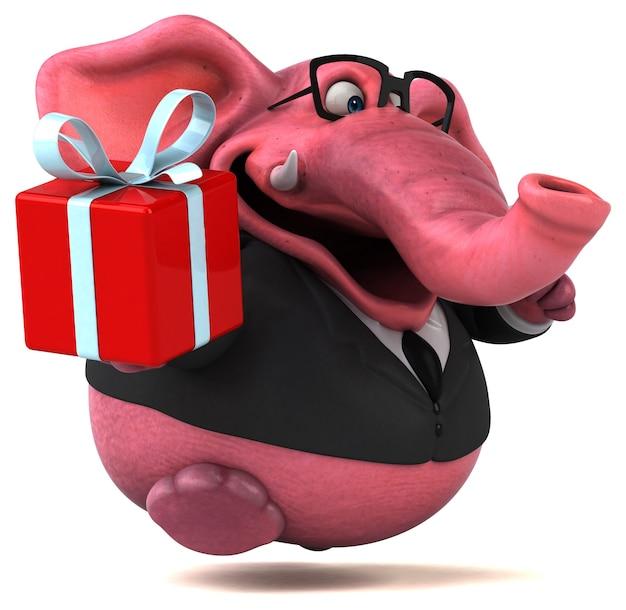 Ilustración de elefante rosa