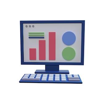 Ilustración de equipo 3d aislado en blanco. ilustración de equipo 3d aislado. concepto de marketing digital 3d con gráficos y computadora
