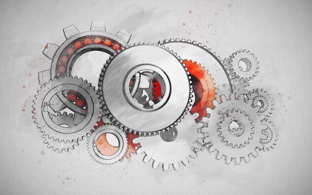 Ilustración de esbozo de proyecto de concepto de ingeniería