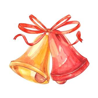 Ilustración en estilo acuarela de campanas y arco mirando a los estantes elemento tradicional de la postal de navidad.