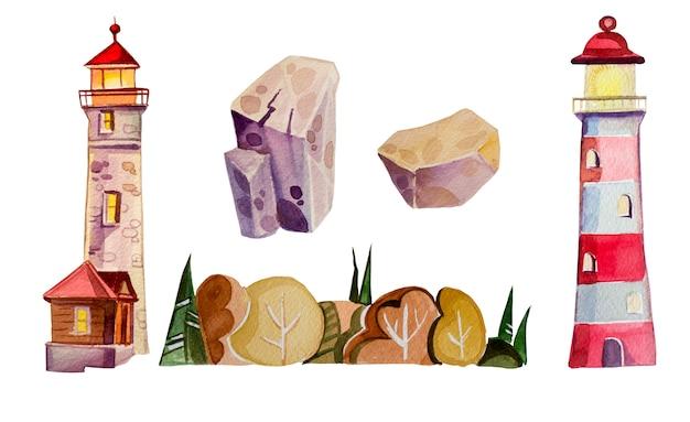 Ilustración de faro acuarela aislado. conjunto de imágenes prediseñadas escandinavo faro pintado a mano, rocas y bosque.