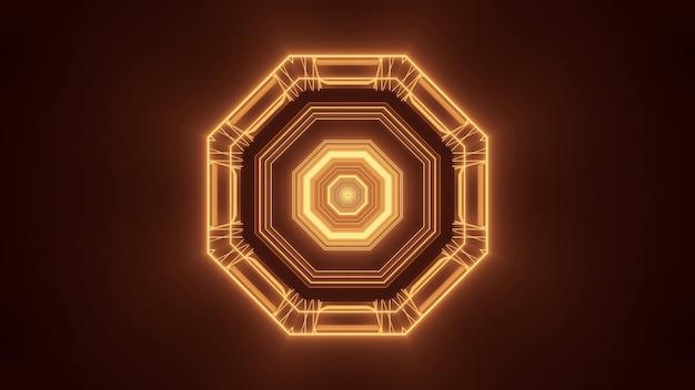 Ilustración de una figura hexagonal hecha de luces marrones y doradas