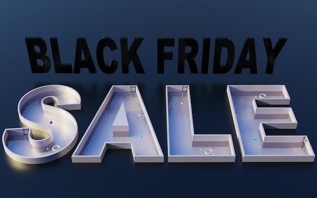 Ilustración de fondo de diseño de venta de viernes negro promoción de marketing tienda de eventos tienda 3d render