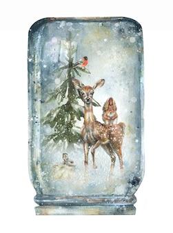 Ilustración de un fondo de invierno en un bosque de bolas de nieve nieve animales salvajes