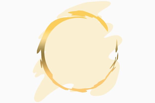 Ilustración de fondo de logotipo abstracto de color amarillo pastel en forma de pincel con un círculo en oro