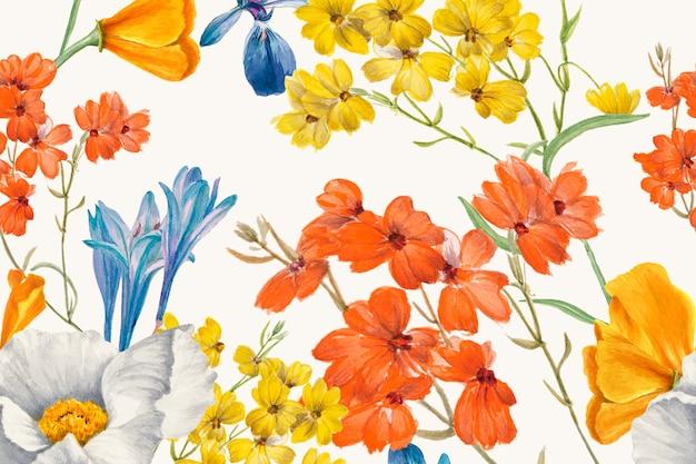 Ilustración de fondo de patrón dibujado a mano de flores coloridas, remezclado de obras de arte de dominio público