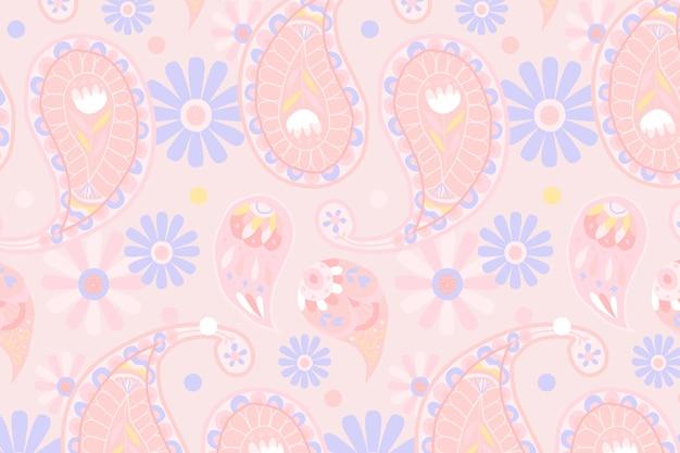 Ilustración de fondo de patrón de paisley indio rosa pastel