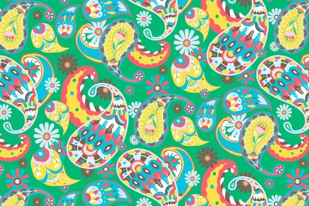 Ilustración de fondo de patrón de paisley verde brillante