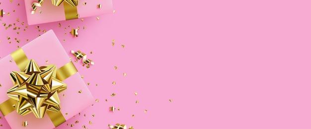 Ilustración de fondo de regalos con cajas de regalos sobre un fondo de confeti dorado