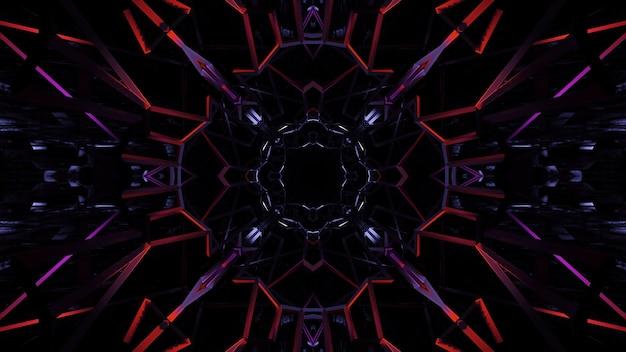 Ilustración de formas geométricas con luces láser de neón de colores: ideal para fondos