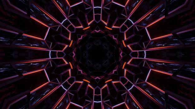 Ilustración de formas geométricas con luces láser de neón de colores, ideal para fondos