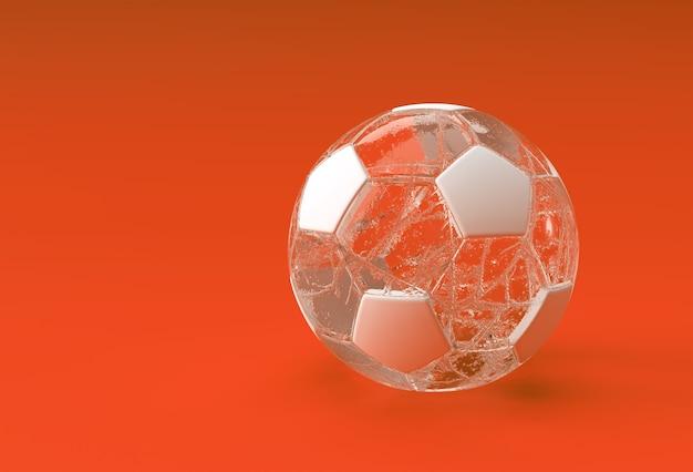 Ilustración de fútbol transparente de renderizado 3d, diseño de balón de fútbol.