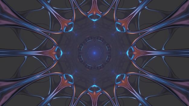 Ilustración genial con formas geométricas y luces láser de neón