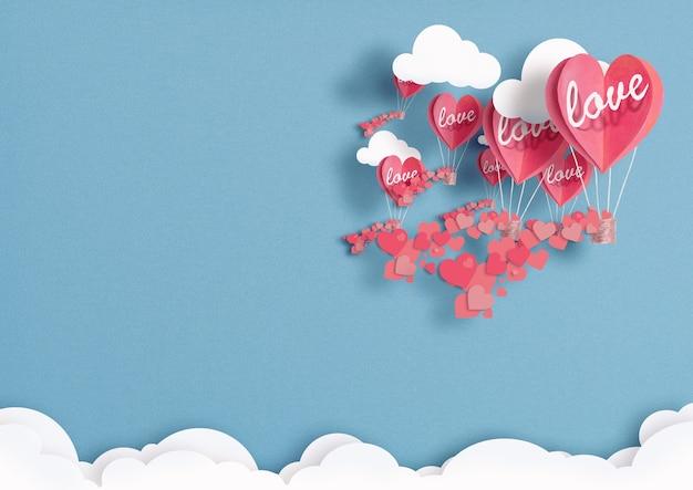 Ilustración de globos en forma de corazones volando en el cielo.