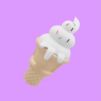 Ilustración de icono de dibujos animados de cono de helado 3d. concepto de icono de objeto de bebida de comida 3d aislado diseño de primera calidad. estilo de dibujos animados plana