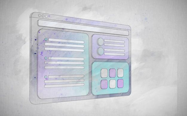 Ilustración de interfaz de ux dibujada a mano renderizado 3d